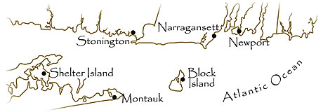bicycle tours New England, New York bike tour - hand-drawn map
